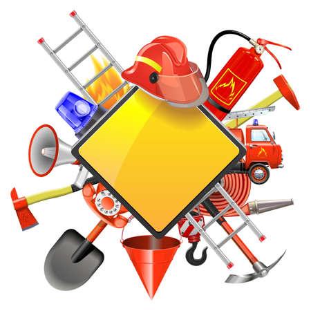 Prévention des incendies Signboard isolé sur fond blanc Banque d'images - 55596629
