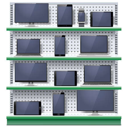 mobile phones: Shelves with Modern Electronic Devices isolated on white background