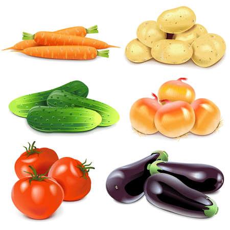 legumes: Légumes isolé sur fond blanc Illustration