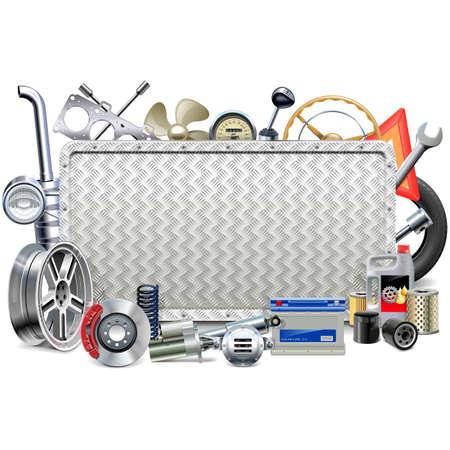 Vektor-Metall-Vorstand mit Autoteile isoliert auf weißem Hintergrund