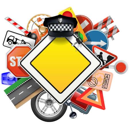 Vector Verkehrszeichen mit Auto-Teile auf weißem Hintergrund Standard-Bild - 57842043