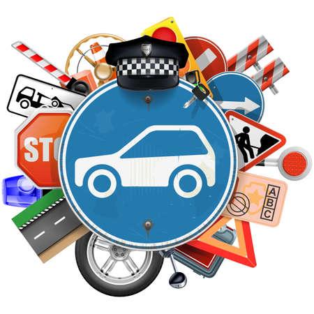 Wektor Niebieski znak drogowy z części samochodowych samodzielnie na białym tle Ilustracje wektorowe