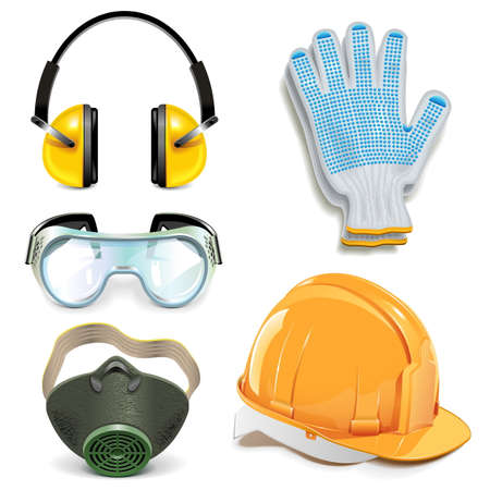 precautions: Vector Protective Equipment isolated on white background Illustration