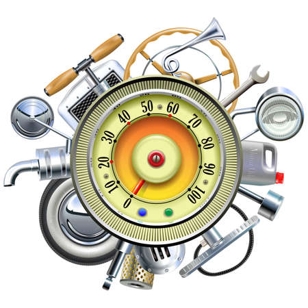 spare parts: Vector Retro Car Parts with Speedometer isolated on white background