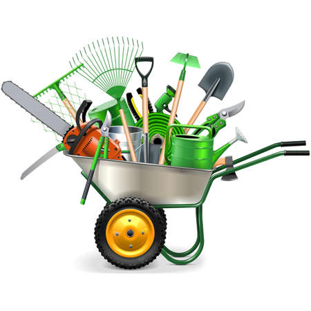 horticultural: Vector Wheelbarrow with Garden Accessories isolated on white background Illustration