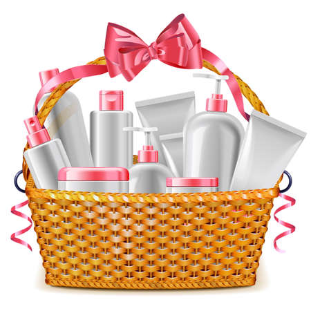 Vector Gift Basket with Cosmetics isolated on white background Illustration