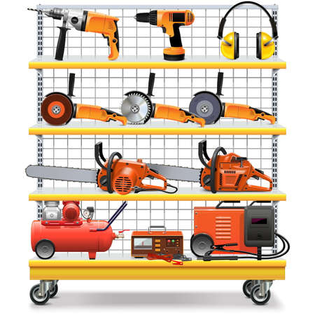 power tool: Vector Supermarket Shelves with Tools isolated on white background