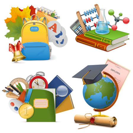 learning concept: Vector School Concept Icons isolated on white background