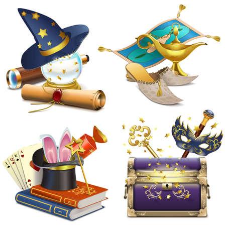 Concept magique vecteur icônes isolé sur fond blanc Banque d'images - 58504511