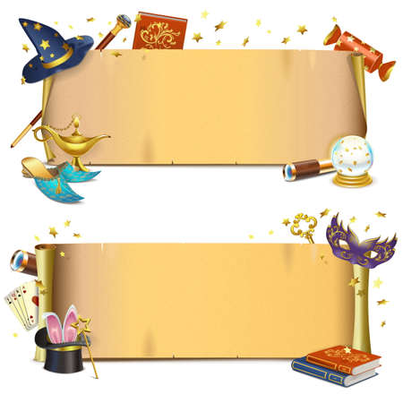 Vector Magie Papierrollen isoliert auf weißem Hintergrund Standard-Bild - 58504512