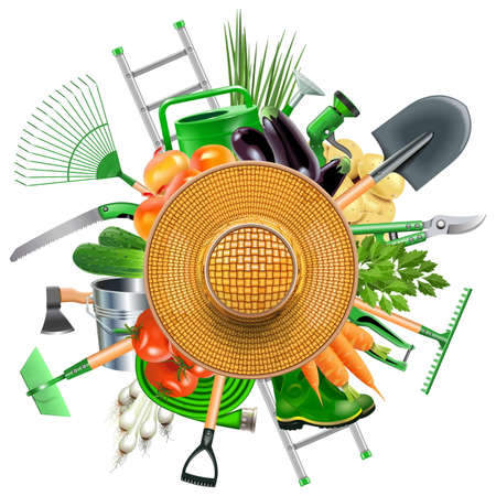 horticultural: Vector Garden Accessories with Sun Hat isolated on white background Illustration