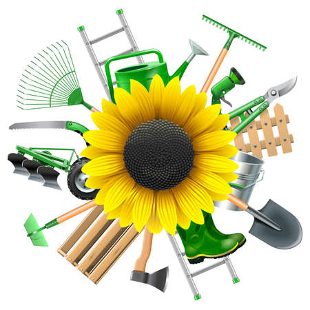 ladder  fence: Vector Garden Equipment with Sunflower isolated on white background Illustration