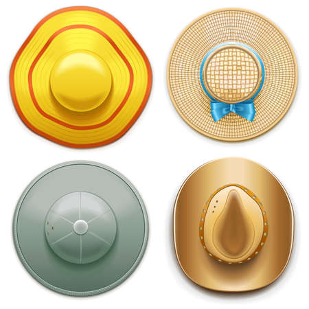 bast: Vector Hats Set 2 isolated on white background
