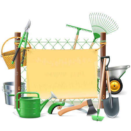 garden frame: Vector Mesh Frame with Garden Tools isolated on white background
