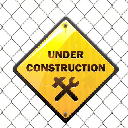 under construction sign: Vector Under Construction Sign with Mesh isolated on white background Illustration