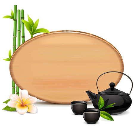 taza de té: Vector de tabla de madera con la tetera aislada en el fondo blanco