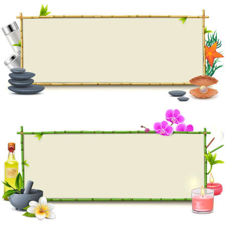 bamboo therapy: Vector Bamboo SPA Boards isolated on white background