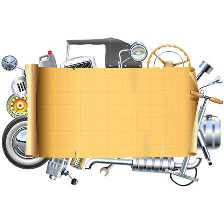 piezas coche: Marco retro del vector Piezas de coches aislados sobre fondo blanco