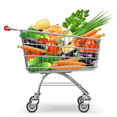shopping icon: Vector Supermarket Trolley with Vegetables  isolated on white background