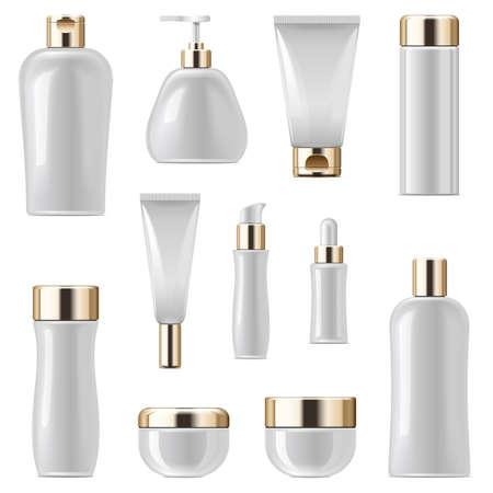 Vector Kosmetische Verpakking Pictogrammen Set 3 geïsoleerd op een witte achtergrond