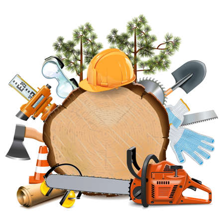 ear muffs: Vector Wooden Board with Chainsaw isolated on white background