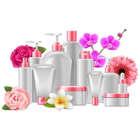 conjunto: Vector empaquetado cosmético con las flores aisladas en el fondo blanco Vectores