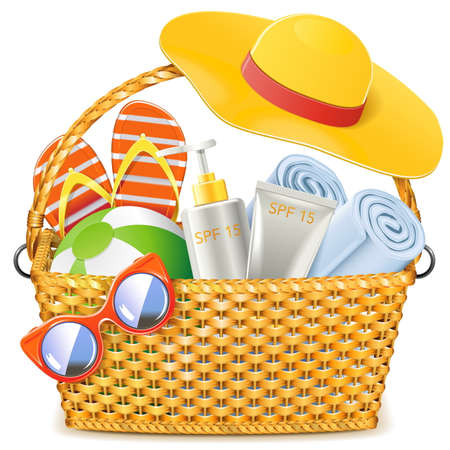 towel: Vector Wicker Basket with Beach Accessories isolated on white background