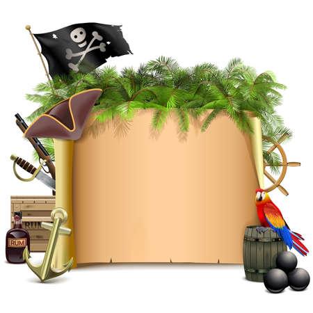 letreros: Vector pirata voluta con la palma aislada en el fondo blanco
