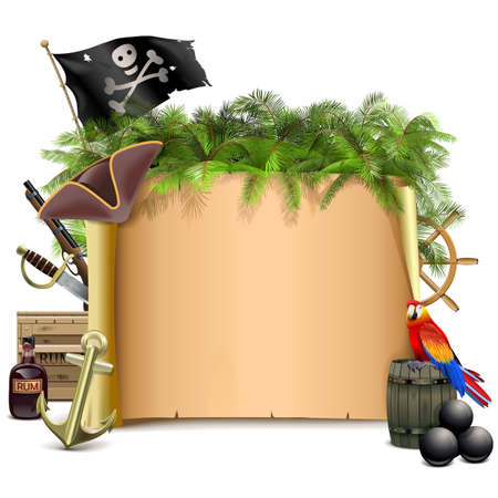 cannon ball: Vector Pirate Scroll with Palm isolated on white background