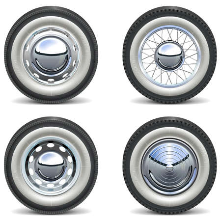 Vector Retro Car Wheels isolated on white background Illusztráció