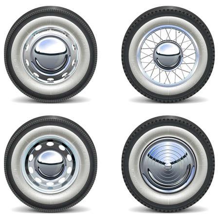 Vettore Retro Auto Wheels isolato su sfondo bianco