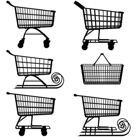 toboggan: Vector Supermarket Cart Pictogram isolated on white background Illustration