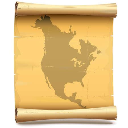 Vector Paper Scroll met Noord-Amerika op een witte achtergrond