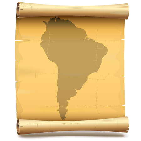 south america: Vector Paper Scroll with South America isolated on white background