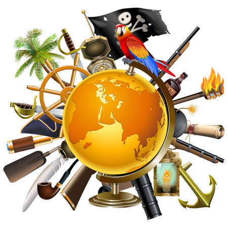 inkpot: Vector Pirate Globe Concept isolated on white background