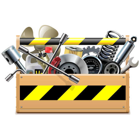 spares: Vector Toolbox with Car Spares isolated on white background