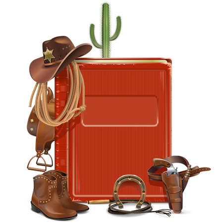 Vector Cowboy Book isolated on white background
