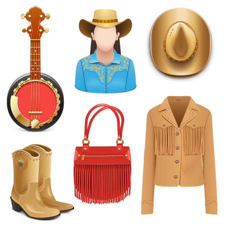 Vector Cowboy Female Accessories isolated on white background