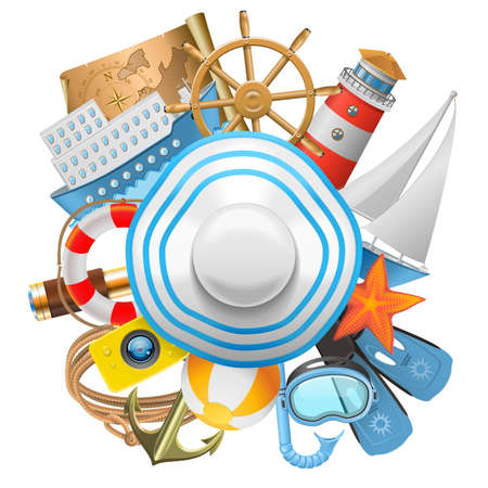 Vector Cruise Concept with Hat isolated on white background Illustration
