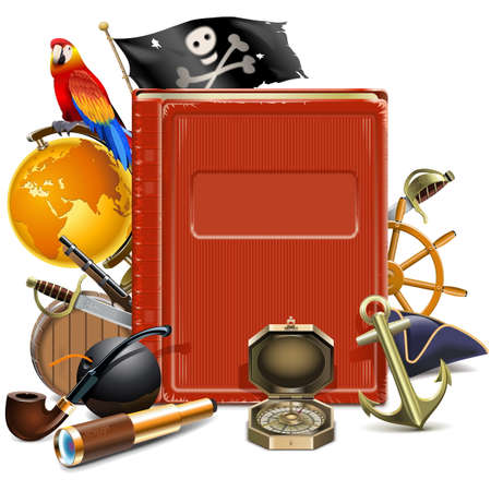 cocked hat: Vector Pirate Book isolated on white background