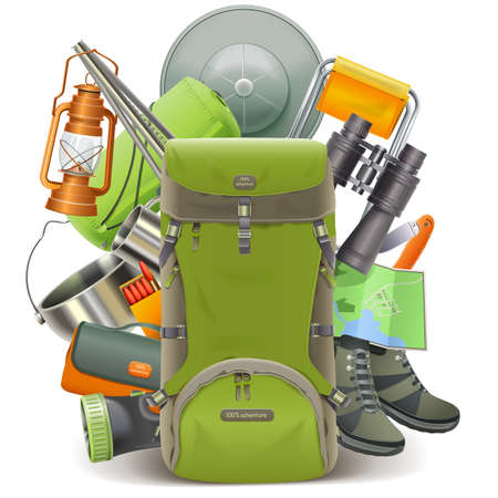 Vector Camping Concept with Haversack isolated on white background Illustration
