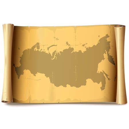 Vector Papierrolle mit Russland, das auf weißem Hintergrund lokalisiert wird