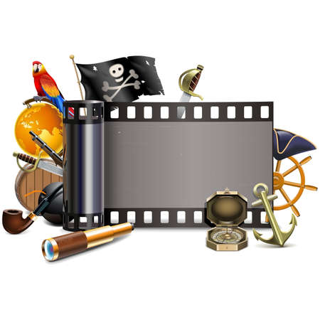 Vector Pirate Film isolated on white background Illustration