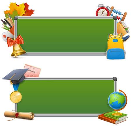 alumnus: Vector School Blackboards isolated on white background
