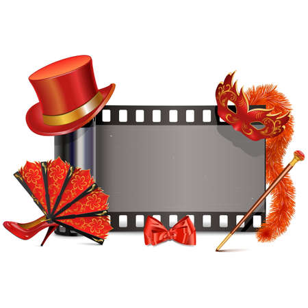 feather boa: Vector Theater Film isolated on white background