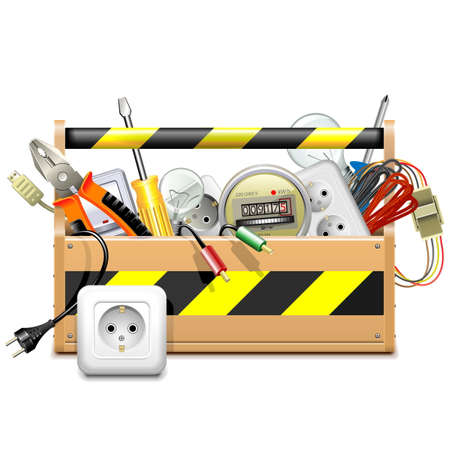 wood crate: Vector Toolbox with Electric Accessories isolated on white background Illustration