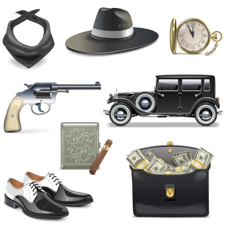 brigand: Gangster Icons isolated on white background