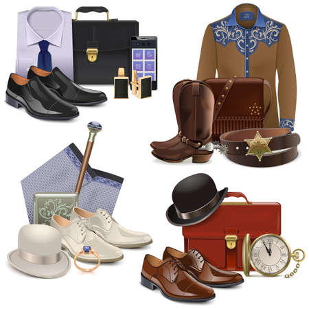 boots: Male Fashion Accessories Set 2 isolated on white background Illustration