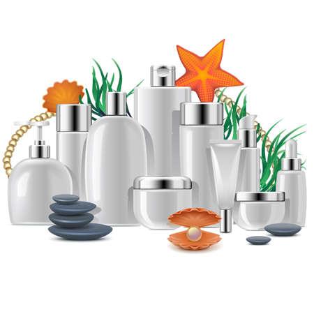 Thalassothérapie avec Cosmetic Packaging isolé sur fond blanc Illustration