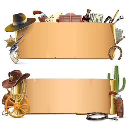 Cowboy Scrolls isoliert auf weißem Hintergrund